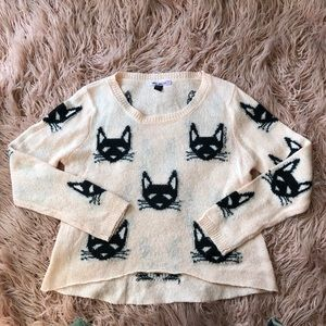 Love Dreams Dusty Rose pink & black cats sweater